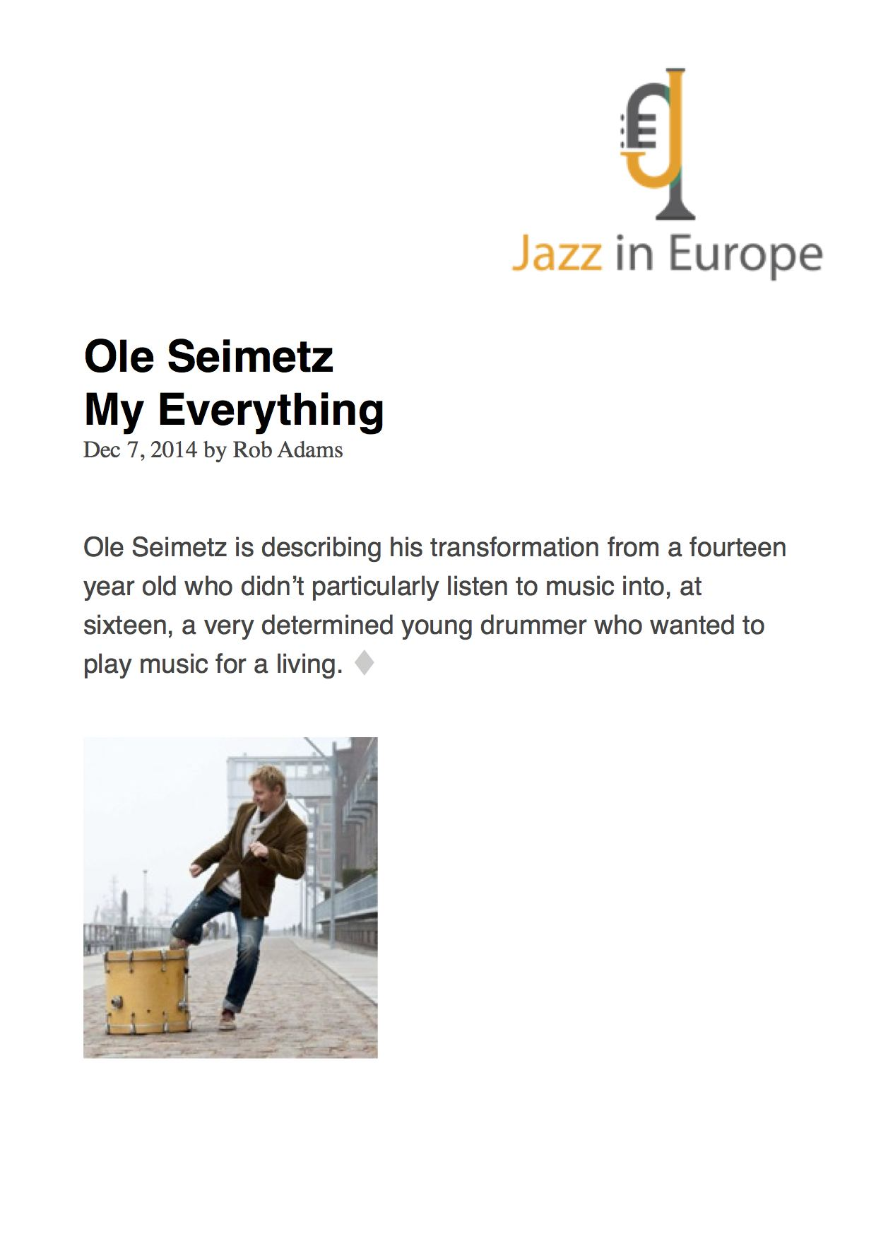 Ole Seimetz-My Everything on JAZZINEUROPE.COM-1-
